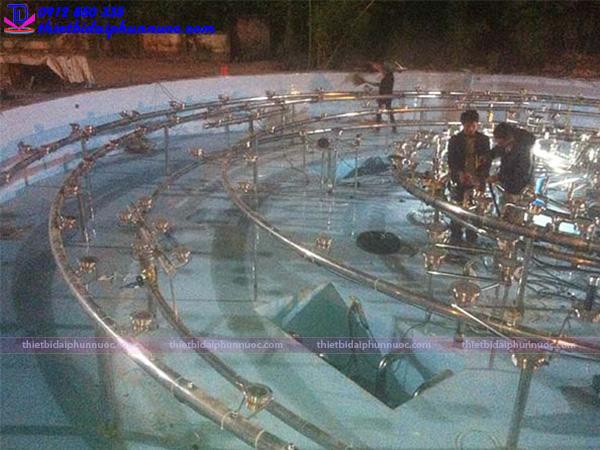 Lắp đặt hệ thống thiết bị cho đài phun nước Sông Công