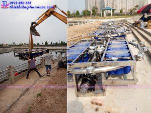 Lắp đặt thiết bị đài phun nước phao nổi khu đô thị Dương Nội