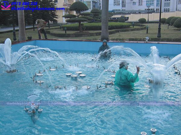 Thi công đài phun nước trụ sở công an Quảng Ninh 5
