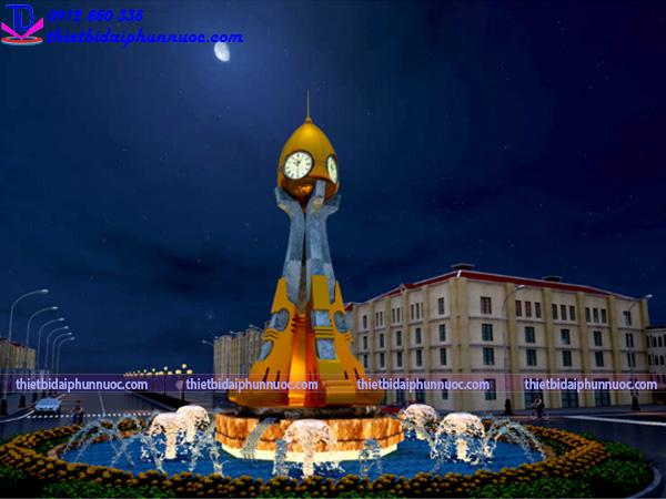 Thi công đài phun nước cột đồng hồ Từ Sơn 2